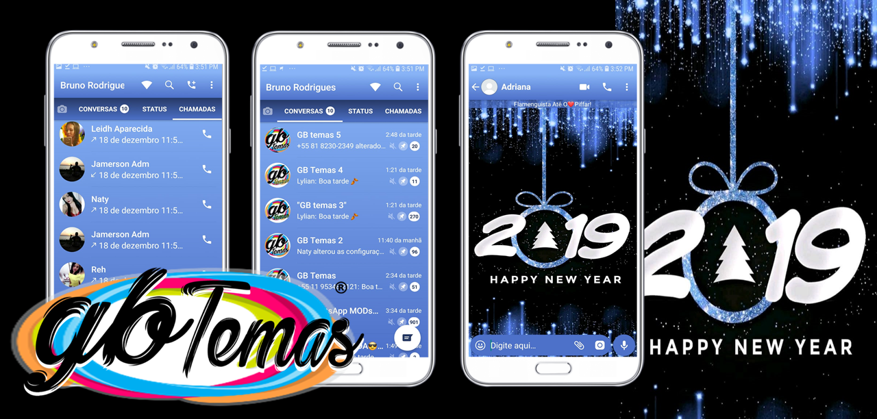 Tema GBWhatsapp - Happy New Year Blue